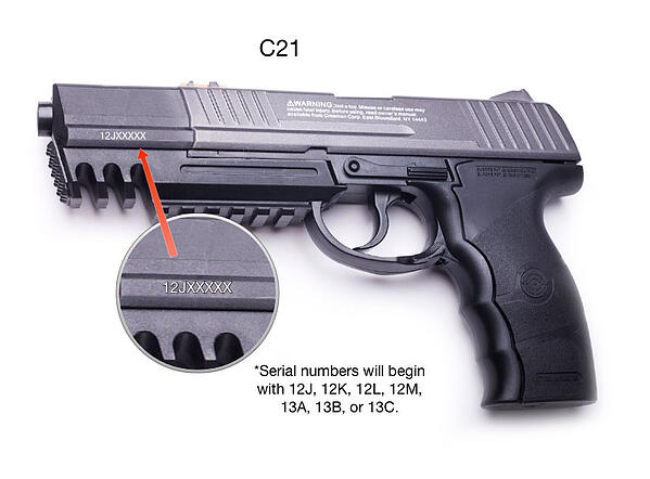 C21 Air Pistol with serial number shown
