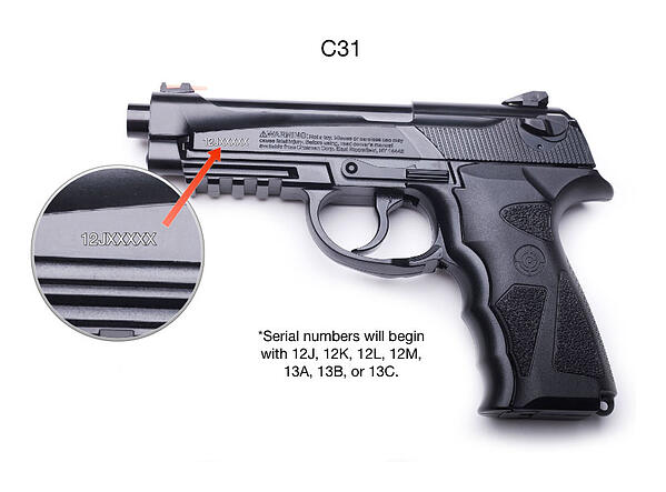 C31 Air Pistol with serial number shown